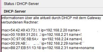 Router DHCP Liste